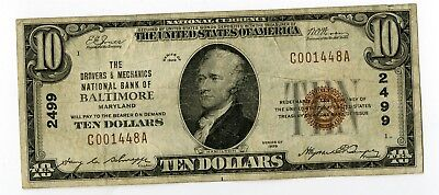 1929 $10 Drovers & Mechanics Ntl Bank Baltimore Maryland National Banknote
