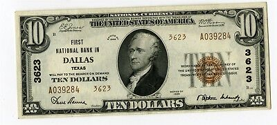 1929 $10 First National Bank in Dallas Texas National Banknote