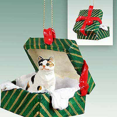Calico CAT Green Gift Box Holiday Christmas ORNAMENT
