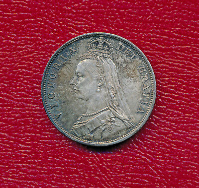 Great Britain 1887 Silver Half Crown Coin **fabulous Lightly Circulated**