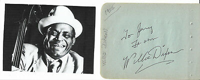 Willie Dixon - Vintage In Person Hand Signed In Ink Album Page With Picture.