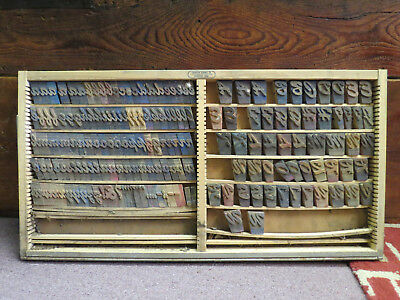 Vintage Thompson Cabinet Printers Tray Letterpress Type Set With 178 Blocks