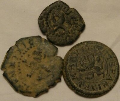Lot Of 3 Antique 17th Century Copper Coins One Dated 1605 Very Old Cobs