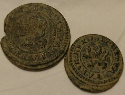 Great Coins 17th Century Copper Coins Both Dated 1618 & 1619 Nice Desert Patina