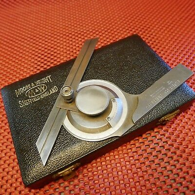 """MOORE & WRIGHT BEVEL PROTRACTOR Made in England 7"""" blade in Case machinist tools"""