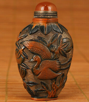 Rare Chinese Old coloured glaze Glass Handmade Carved Crane Statue Snuff Bottle