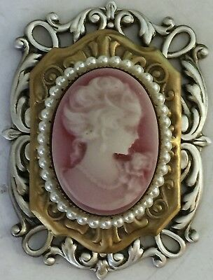 "ART NOUVEAU WOMAN CAMEO PICTURE BUTTON WITH PEARLS ~Vintage~Brass~1 3/4"" INCH"