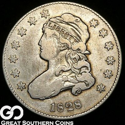 1828 Capped Bust Quarter, Very Scarce VF+ Early Silver Type, * Free Shipping!
