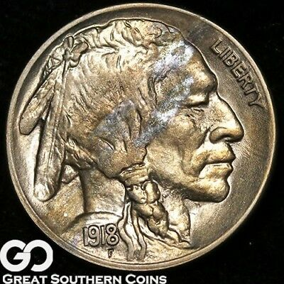1918 Buffalo Nickel, Tough This Nice, Solid Gem BU++