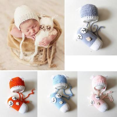 Newborn Baby Girls Boys Crochet Knit Hat+Toys Photography Photo Prop Outfits