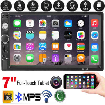 """7"""" Double 2 DIN Car MP5 MP3 Player Bluetooth Touch Screen Stereo Radio FM USB TF"""