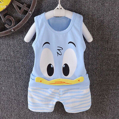 2PCS Toddler Baby Kids Boy Cartoon Vest Tops T-shirt+Shorts Pants Summer Outfits