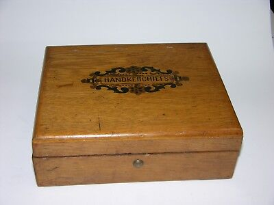 Old Oak Box Marked Handkerchiefs on Top with Paper Lining (CR 143)