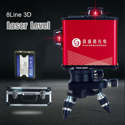 Laser Level 8 Line Red Auto Self Leveling 360° Rotary Cross Measure Tool +Stand