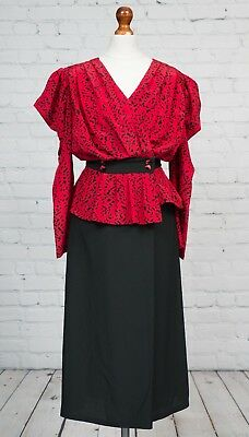 Vintage Laura Phillips 1980s Long Red Black Power Dress Size 10 12 Wrap Wrapover