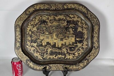 Stunning Large (49x39) Antique Chinese Handpainted Gilt and Black Lacquer Tray
