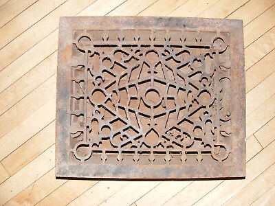 Antique Square Cast Iron ~~ Controlled ~~ Wall Grate Floor Heat Register Vent