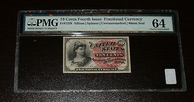 4th Issue 10 Cent Fractional - FR1258-  PMG 64!  Pinholes