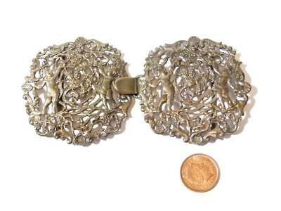 c1865 Silver Nurse BUCKLE Putti - 4 Cherubs & Vines JRSJ Rosenthal & Jacob #B1