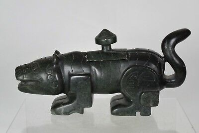 Early Antique Chinese Intricately Carved Dark Green Jade/Hardstone Animal