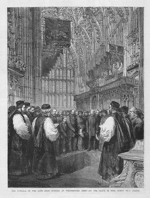 LONDON Funeral of Dean Stanley at Westminster Abbey - Antique Print 1881