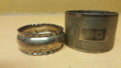 2 X Vintage Solid Sterling Silver Napkin Rings Hallmarked Odd Pair