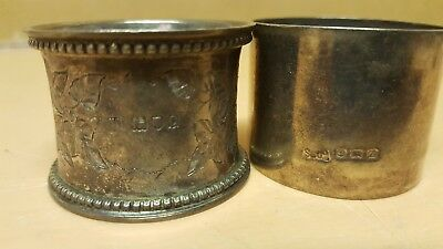 2 X Vintage Solid Sterling Silver Napkin Rings Hallmarked Odd Pair # 2