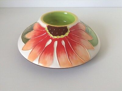 Jeanette McCall Icing On The Cake Blue Sky Gerber Daisy Tea Candle Holder