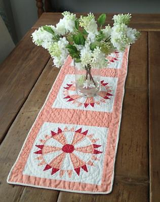 Vintage Peach Red & White Table Quilt RUNNER Tiny Pieces 30x11
