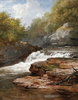 Waterfall in a River Landscape Antique Oil Painting by Edmund Gill (1820-1894)
