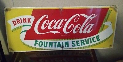 1940s 50s DRINK COCA COLA FOUNTAIN SERVICE PORCELAIN SIGN