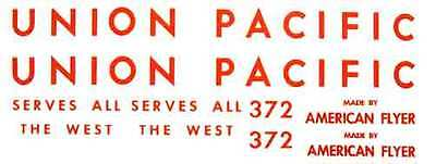 UNION PACIFIC 372 DIESEL ADHESIVE STICKER SET for Made By American Flyer
