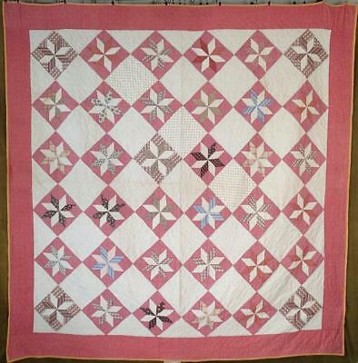 "Gorgeous Fabrics! Early Lemoyne Star c1870 Antique QUILT 79"" x 77"""