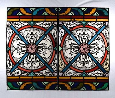 *Large Antique Pair of French Stained Glass Hand Painted Panels w/Medallions