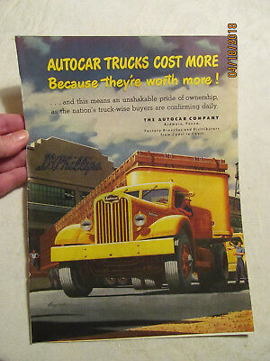 Vint Full Page Colored Ad Autocar Company Ardmore, Pa Yellow Semi Truck ++