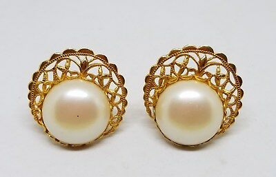 Vintage Estate Pair of Large Gold Tone Pearl Cufflinks Jewelry