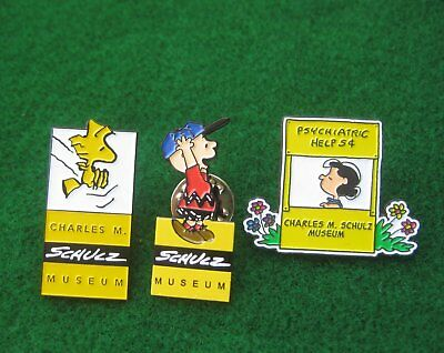 Lot of 3 Charles M. Schulz MUSEUM ~ Woodstock Charlie Brown Lucy Lapel Pins 2575