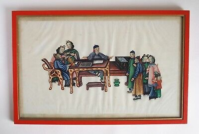 Fine antique 19th century Chinese pith painting - Scholar at home
