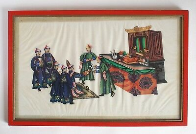 Fine antique 19th century Chinese pith painting - Temple offering