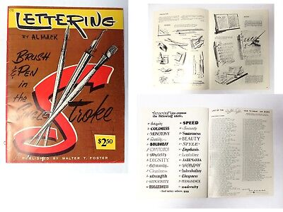 Vintage 1950s LETTERING how to draw Art books by Walter Foster AL MACK TYPE FONT