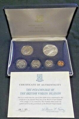 1974 British Virgin Islands 6 Coin Set Proof Set With Silver Dollar       (5130)