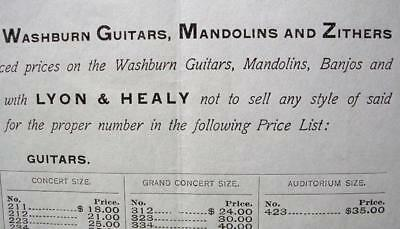 Vintage 1907 CONTRACT For The Sale of WASHBURN GUITARS, MANDOLIN & ZITHERS