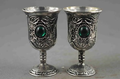 Collectable Handwork Miao Silver Carve Flower Inlay Agate Exorcism Evil Wine Cup