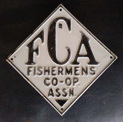 Old Unusual FCA Fishermens Co-op Ass'n Metal Sign