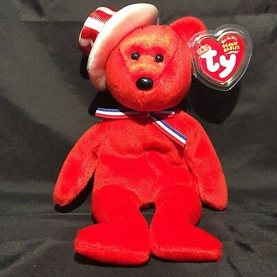 Beanbag Plush * TY Beanie Babies * Sam * Red * With Tag