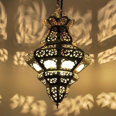 Oriental Moroccan Hanging Light Hanging Lamp Trimbo-Milchglas Brass