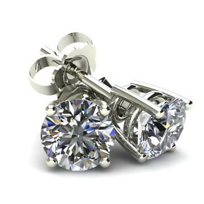 1CT Round Brilliant Cut Natural Diamond Stud Earrings In 14K White Gold