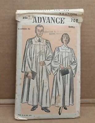 Early 1950's Advance # 708 Pattern Church Choir Robe Small Cut Counted Complete