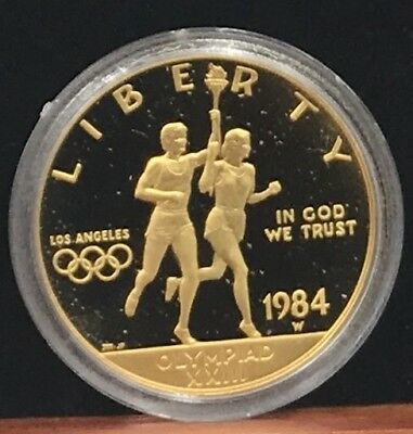 1984-W Olympic Ten Dollar Gold Coin In Original Capsule