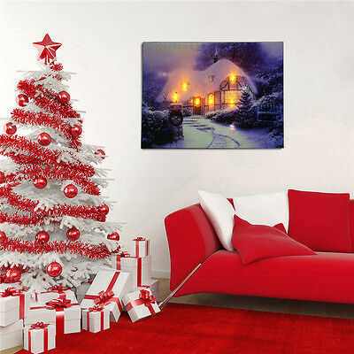 LED Landscape Light Canvas Painting Print Home Christmas Wall Art Picture Decor